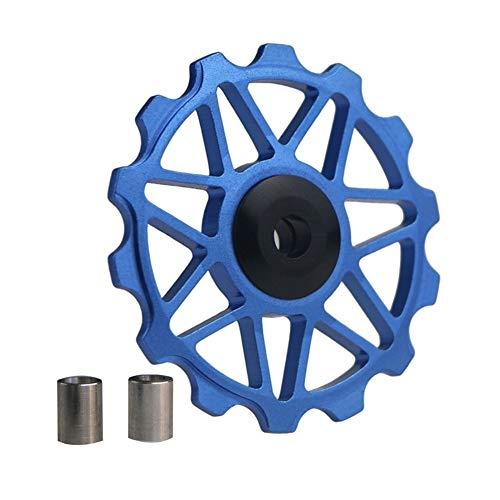 NOBRAND 14T Guía de Ruedas Bici del Camino de Rodillos de aleación de Bicicletas Polea Jockey Desviador Trasero del cojinete de Rodillos de cerámica for Shimano Sram GX Xx1 Parte (Color : Blue)