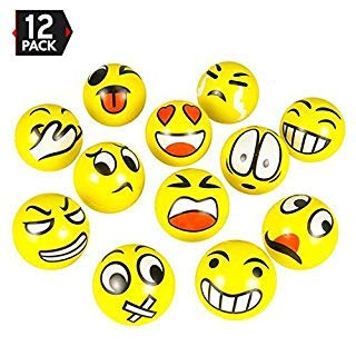 3' Party Pack Emoji Stress Balls Stress Reliver Party Favors, Toy Balls, Party Toys (12 Pack)