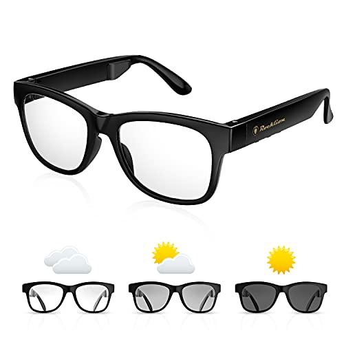 QZT Bone Conduction Brille, Intelligente Bluetooth Knochenleitung Kopfhörer Sonnenbrille mit IP66 Wasserdicht Photochrom Linse Sport Brille Kopfhörer Knochenleitungsbrille für Erwachsene Herren Damen