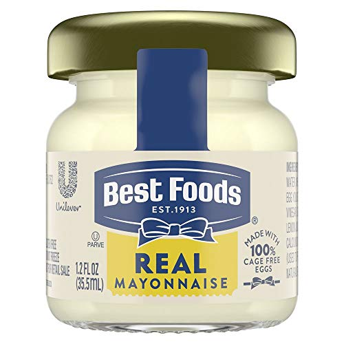 Best Foods Real Mayonnaise Mini Jars Made with 100% Cage Free Eggs, Gluten Free, 1.2 oz, Pack of 72