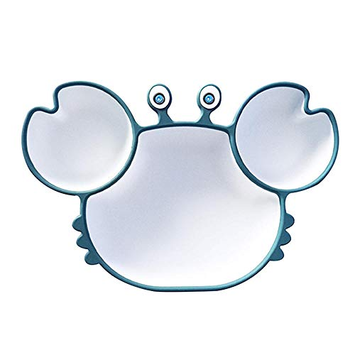 Vajilla de lechón de Silicona para bebé Plato de Cena anticaída de Dibujos Animados Infantil Niños Plato de Comida suplementario Platos Suaves-Azul