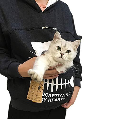 Rcinodhilary Pet Carrier Hoodie Sweatshirt Tiertasche Hood Tops Atmungsaktive Freizeitmode Langarm Pullover Bluse mit großer Tasche