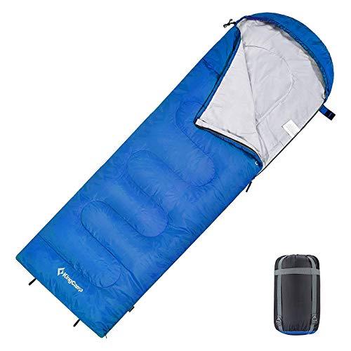 KingCamp Oasis Deckenschlafsäcke mit Kopfteil für Erwachsenen Leichtgewicht 3 Jahreszeiten, Blau, 220 × 75 cm