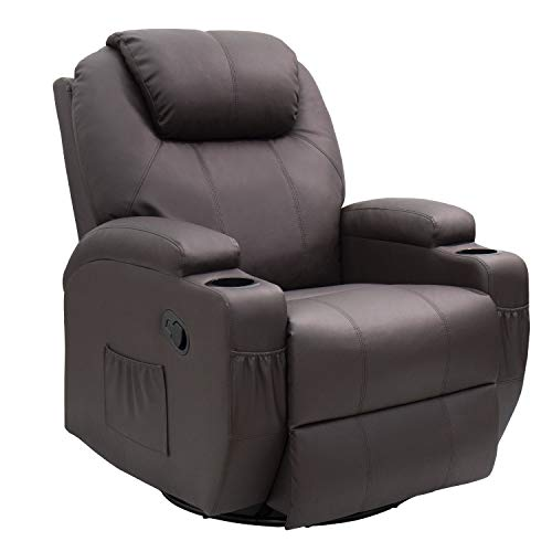 JUMMICO Recliner Chair Massage and Heating Living Room Chair, Rocking and 360° Swivel Home Leather Sofa with 2 Cup Holders and Side Pockets (Brown)