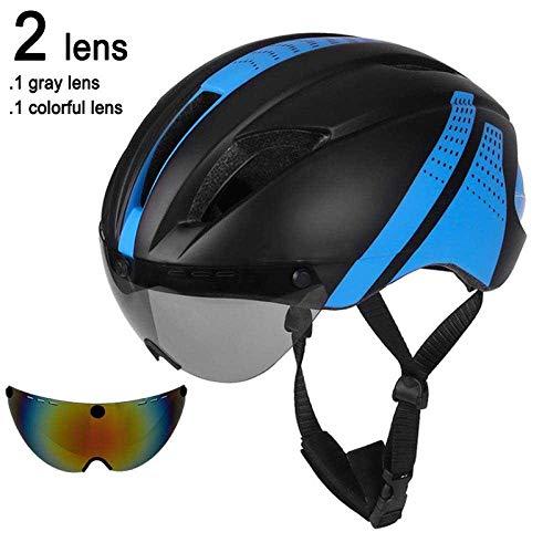 LIUDATOU Lente Gafas magnéticas Casco para Bicicleta Road Mountain MTB Casco de Ciclismo en el Molde Velocidad de conducción Casco de Bicicleta de contrarreloj, Negro Azul 2 Lentes