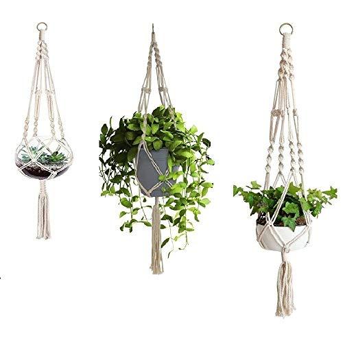 3つの植木鉢、吊り下げられた綿織り鉢植えの植木鉢、綿の植木鉢、屋内および屋外の家族の誕生日のバスケットをぶら下げるのに最適(サイズ:S-L)