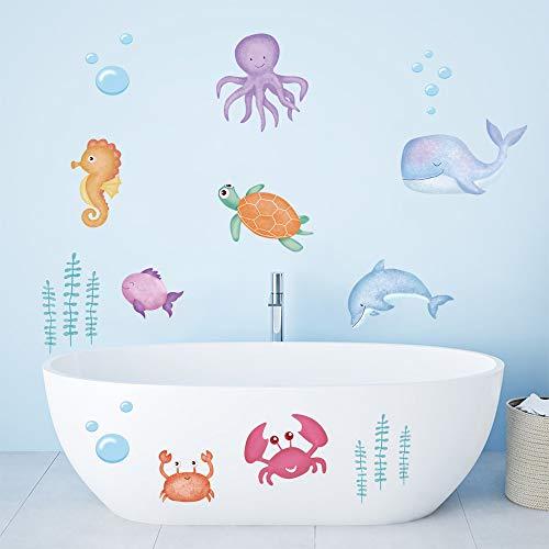 ufengke Pegatinas de Pared Bajo El Mar Vinilos Adhesivas Pared Pescado Marino Decorativos para Baño Dormitorio Habitación Infantiles