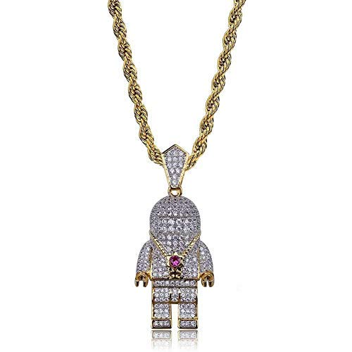 Jiaxingo Astronaut Colgante para habitación, collar Hip Hop Iced Out, cristal de estrás, collar chapado en oro de 18 quilates con cadena de acero inoxidable de 24 pulgadas para hombres