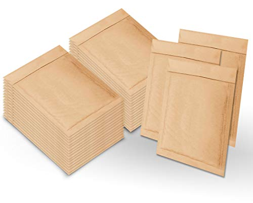 Natural Kraft Bubble mailers 10.5 x 15 Brown Padded envelopes 10 1/2 x 15 by Amiff. Pack of 220 Kraft Paper Cushion envelopes. Exterior Size 11.5 x 15.5. Peel and Seal. Mailing, Shipping.