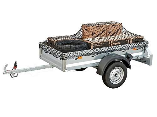 DWT-Germany Anhängernetz 120cm x 80cm dehnbar auf 1.3m x 0.8m - Gepäcknetz zur Ladungssicherung grün - Containernetz Sicherungsnetz Ladungssicherungsnetz