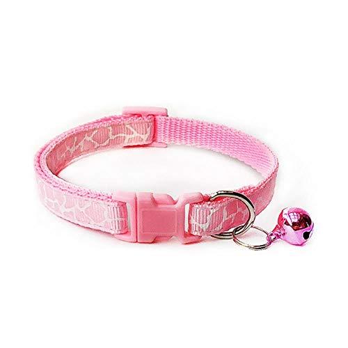 LCZMQRCLMZRQ Cute Cartoon huisdier halsbanden Puppy verstelbare polyester ketting mooi met Bells Print kat hond ketting kraag, D roze, S