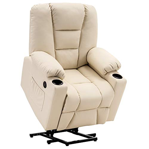 Mcombo Electric Power Lift Recliner Chair Sofa with Vibration Massage and Heat for Elderly, 3 Positions, 2 Side Pockets and Cup Holders, USB Charge Ports 7509 (Cream White (Faux Leather))