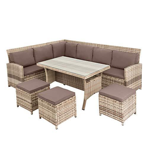ESTEXO Polyrattan Lounge Set in luxuriöser Optik bestehend aus 1 Couch, 3 Hockern und 1 Tisch, inklusive Sitzpolster, beige - 6