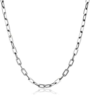 925 Sterling Silver 3MM 4.5MM 5.5MM Mariner Anchor Link Chain Necklace- Square Link Cable Link Necklace Chain, Twist Link Necklace, Rolo Chain Necklace