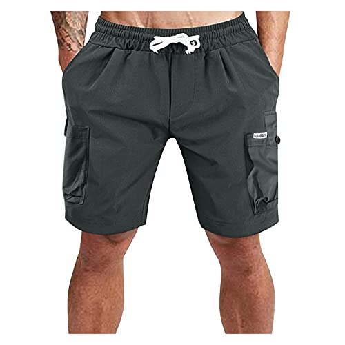 Xiangdanful Herren Vintage Cargo Shorts Kurze Hose Baumwolle Shorts Sommer Cargo Kurze Hosen Herren Einfarbig Jeans Bermuda Shorts Outdoor Taschen Gerade Tooling Shorts Sommerhose