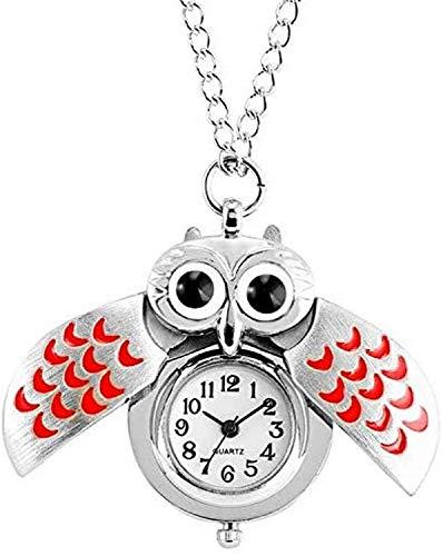 JoinBuy.R - Orologio da tasca con motivo gufo con ali rosse, con cassa in lega resistente, da donna, con numeri arabi neri e quadrante bianco