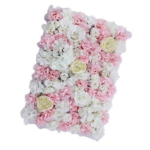 Paneles de flores, pared de flores artificiales, telón de fondo romántico rosa...