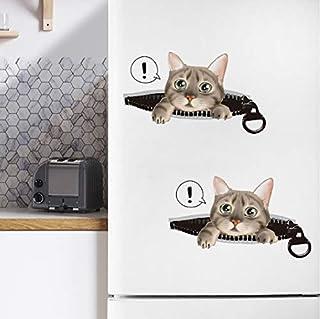 Stickers muraux trou trou vue salle de bains vives décoration de la maison animaux vinyle stickers 3 chats 3D art autocoll...