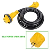 SCITOO 10Foot 30AMP RV Extension Cord Power Supply Cable for Trailer Motorhome Camper
