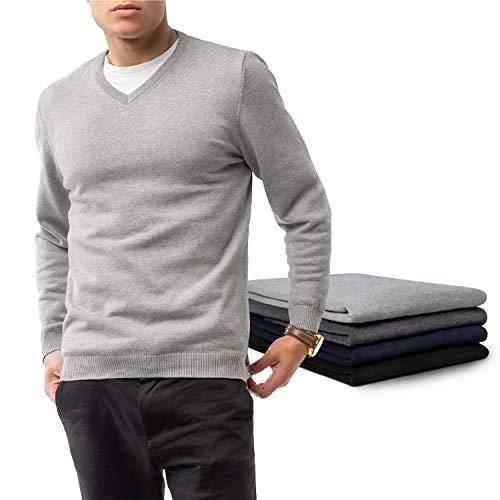 ZENAPHYR Herren Pullover V-Ausschnitt - 100% Baumwolle - Pullover Herren ohne Kapuze - Cardigan Herren Grau- Pulli Größe Medium - Sweatshirt Langarmshirt Herren Kleidung