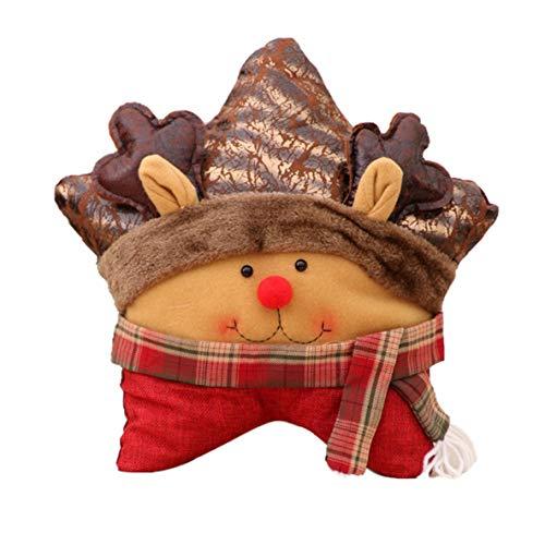 Heaviesk Weihnachten dekorative Home Couch Sofa Stuhl Kissen Kissen Fünf-Sterne-Kissen Schneemann Santa Deer Cartoon Kissen Rückenpolster