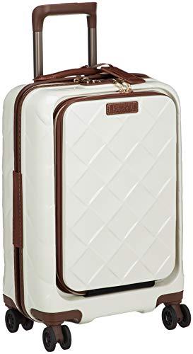 [ストラティック] スーツケース レザー&モア 機内持込 33L 3.30kg フロントオープン(前開き) 4輪ダブルキャスター 本革 ドリンクホルダー機能 機内持ち込み可 保証付 55 cm 3.3kg ミルク