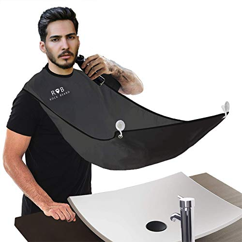 ROCK BEARD Beard Apron Cape for Men Trimming and Shaving, Waterproof and Non-Stick Hair Beard Clippings Catcher Bib with 4 Suction Cups,Best Gift for Man/husband/boyfriend (Black)