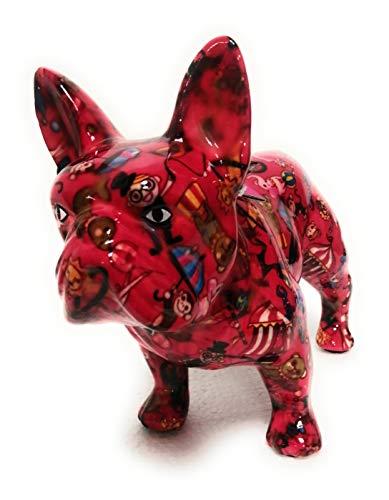 udc Pomme Pidou Spardose aus Keramik, Französische Bulldogge, rote Bulldogge, Motiv Zirkus – 23,5 x 19,2 x 11 cm