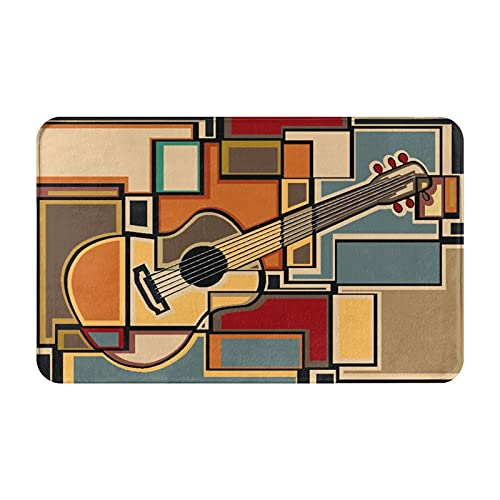 Marutuki Alfombra Decorativa para el Baño,Mosaico Colorido una impresión de Guitarra acústica,Alfombra de Baño Suave Antideslizante Micro Felpa,80 x 49 cm