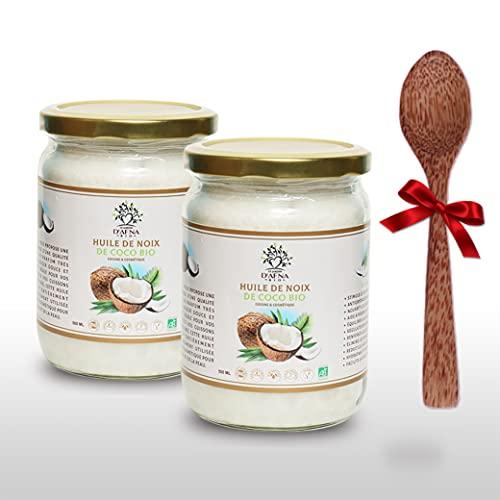 Huile de Coco Bio Extra Vierge - Lot de 2X500ml (1L) - 1ere pression à froid - Non Raffinée et Pure - Idéale Pour la cuisine et en cosmétique - cuillère en bois de coco offerte - Le Jardin d'Afna Bio