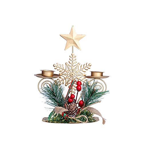 clacce Weihnachtsschmiedeeisen Kerzenhalter 2-Armiger Kerzenleuchter,Vintage Deko,Verwendet für Hochzeit Tisch Deko,Weihnachtsdeko,Deko Wohnzimmer Kerzenhalter,Kerzenständer