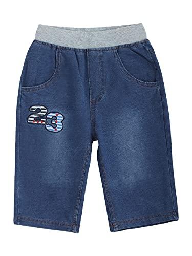 Pantalones vaqueros cortos de algodón vaquero hasta la rodilla, cintura elástica clásica, azul vaquero, diseño de dibujos animados, tallas 92-128 Vaqueros de punto - Patrón 23 110 cm