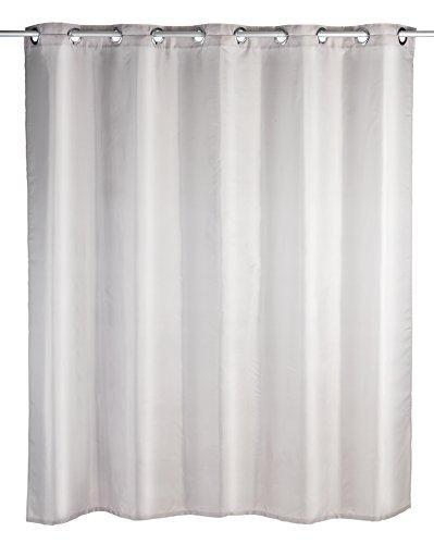 WENKO Duschvorhang Comfort Flex Taupe - Textil , waschbar, wasserabweisend, mit 12 Duschvorhangringen & integrierter Hängeeinrichtung, Polyester, 180 x 200 cm, Taupe