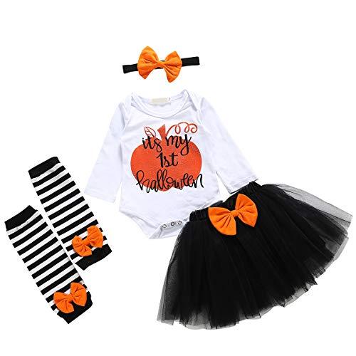 Borlai 4 stks/Set Meisjes 1e Halloween Outfits Romper + Mesh Tutu Rok + Beenmouwen + Hoofdband 0-24 Maanden