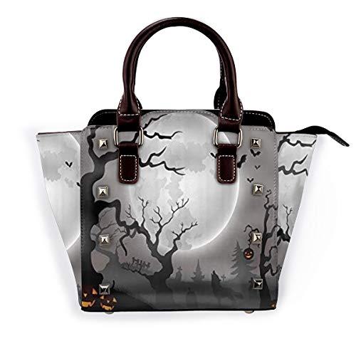 BROWCIN Halloween Vollmond Wolf Grab Kürbis Schädel Cartoon Abnehmbare mode trend damen handtasche umhängetasche umhängetasche