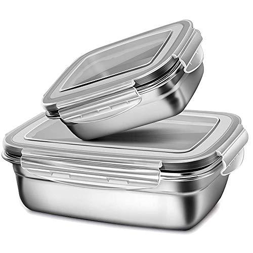 G.a HOMEFAVOR Boîte Bento en Acier Inoxydable Boite pour Le Déjeuner Alimentaires Bento Box 2 Pièces étanches pour Enfants Et Adultes (350 ML + 850 ML), Gris