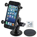 RAM MOUNTS (RAP-B-378-A-UN7U Flex Adhesive Mount with Short Double Socket Arm and Universal X-Grip Cell Phone Holder
