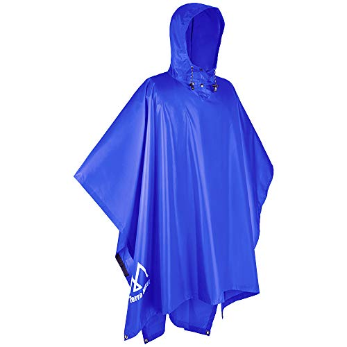 Terra Hiker Waterproof Rain Poncho, Hiking Rain Jacket, Reusable Rain Coat for Outdoor Activities (Blue)