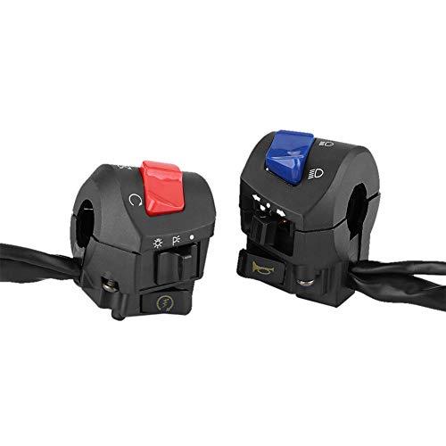 Interruptor del manillar Interruptor de control 2 piezas Moto 7/8'Interruptor de montaje del manillar izquierdo y derecho con bocina y control de encendido