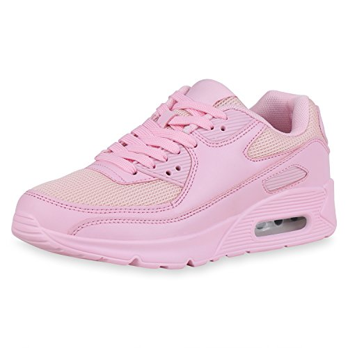 SCARPE VITA Damen Laufschuhe Sportschuhe Neon Fitness Schuhe Freizeit Sneaker Turnschuhe Schnürer Profilsohle Joggingschuhe 163172 Rosa Nude 38