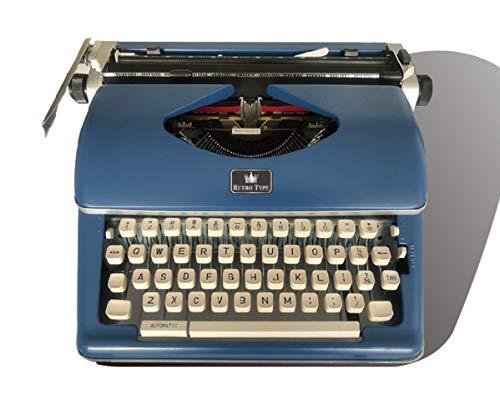 Vintage Schreibmaschine, Retro Mechanische Schreibmaschine mit 2 zusätzlichen Ersatzbandsätzen (Blau)