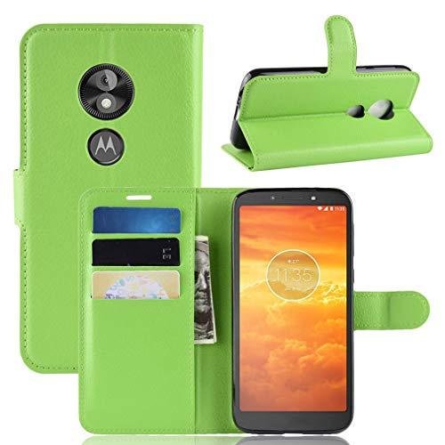 LMFULM® Hülle für Motorola Moto E5 Play (5.3 Zoll) [Fit UK Version only] PU Leder Magnet Brieftasche Lederhülle Handytasche Litschi Muster Standfunktion Ledertasche Flip Cover Grün