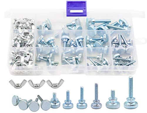 LBY 100pcs Knurled Hand Screw, M3/M4/M5 Flat Knurled Head Fully Threaded Thumb Screws(Double Layer Step) and Wing Nuts 13 Kinds Assortment Kit, Carbon Steel Galvanize