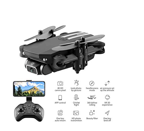 XKJ 2020 New Mini Drone 4K 1080P HD Camera WiFi FPV Air Pressure Altitude Hold Black and Gray Foldable Quadcopter RC Drone Toy (1080P Gray 3B Bag)