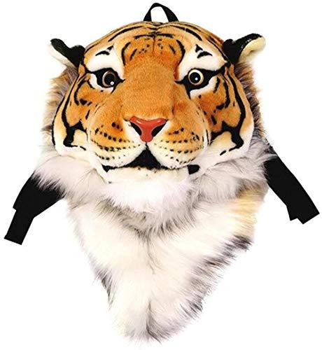 Domineering zaino imbottito testa di tigre peluche simulazione 3D personalizzato borsa a tracolla testa di animale spalla borsa-L_Giallo