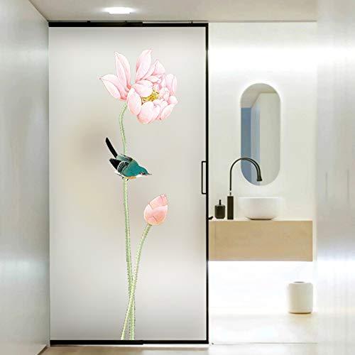 fgdsa Glas Aufkleber,Fenster Statische Folie,licht Transluzent Opak Lotusfenster Dekor,selbst-klebstoff Nicht-klebefolie-a 100x200cm(39x79inch)