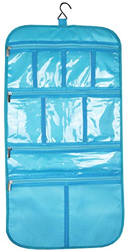 Premium Hanging Toiletry Travel Bag - Cosmetic, Jewelry, Toiletry & Accessory Storage Organizer Bag, Large Size, Various Compartments (Aquamarine)