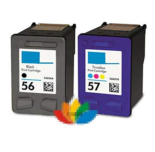 JWGD Ajuste for C6656A C6657A Compatible Impresora HP Cartucho de Ajuste for HP 56 57 HP56 HP57 Deskjet 450 450cbi 450Ci 450wbt F4140 F4180 5150 5550