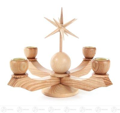 Adventsleuchter klein mit Stern – Natur - für Kerzen - Höhe ca. 19 cm - Kerzenhalter – Erzgebirge – Kerzenhalter – Holz – Handarbeit - NEU