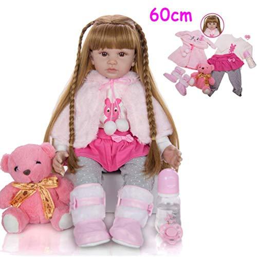 Muñecas de bebé de 60 cm realistas con pelo largo de vinilo realista de silicona para niños y niñas de 3 años o más de 3 años